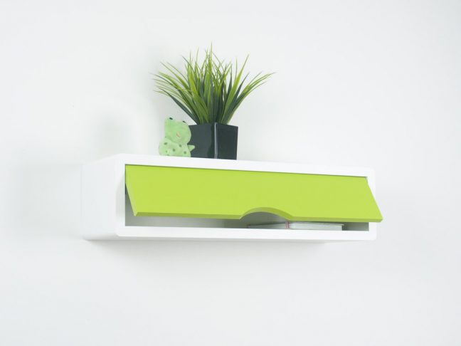 contemporary floating shelf, white wall cabinets green