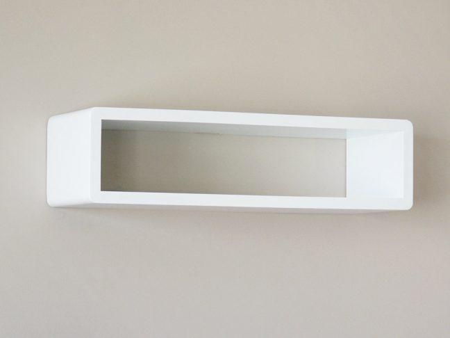 Whyte Slim Modern White Floating Shelf, Decorative Shelf, Cube Shelf