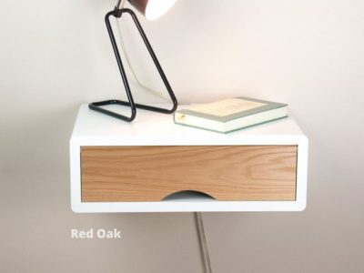 Mid-century modern white floating nightstand with solid oak door