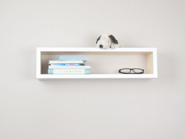 White and Natural Floating Shelf