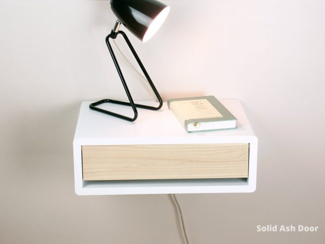 mid-century modern floating bedside table with solid ash door
