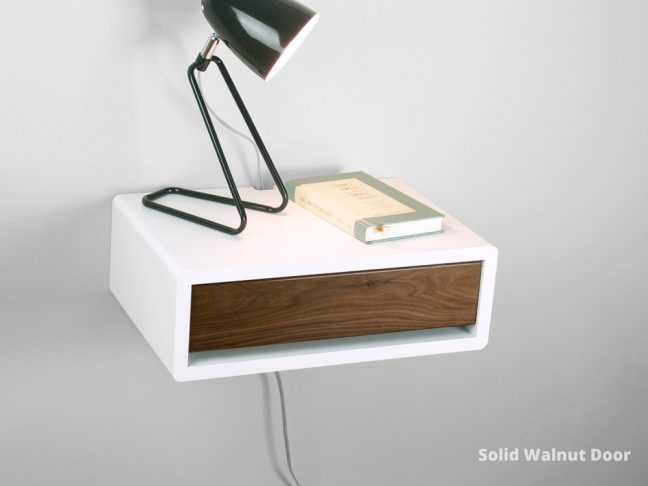 mid-century modern floating bedside table with solid walnut door