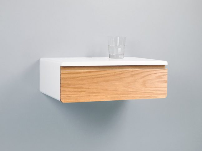 Blanca Sleek Floating Nightstand Drawer Hardwood Front
