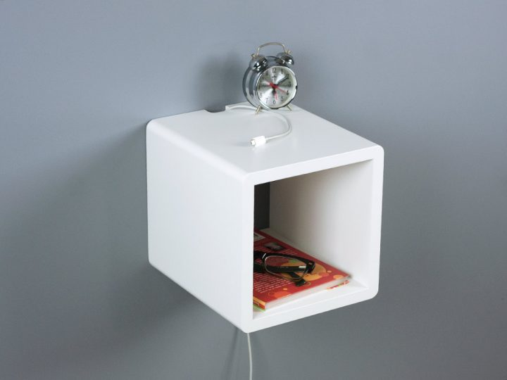 Whyte Small Cubby Floating Nightstand, Mini Side Table, Modern Bedside Table
