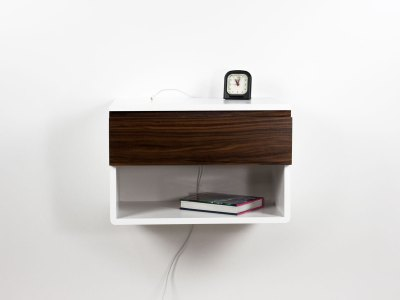 Blanca Walnut Floating Nightstand Shelf – One Drawer One Open Shelf