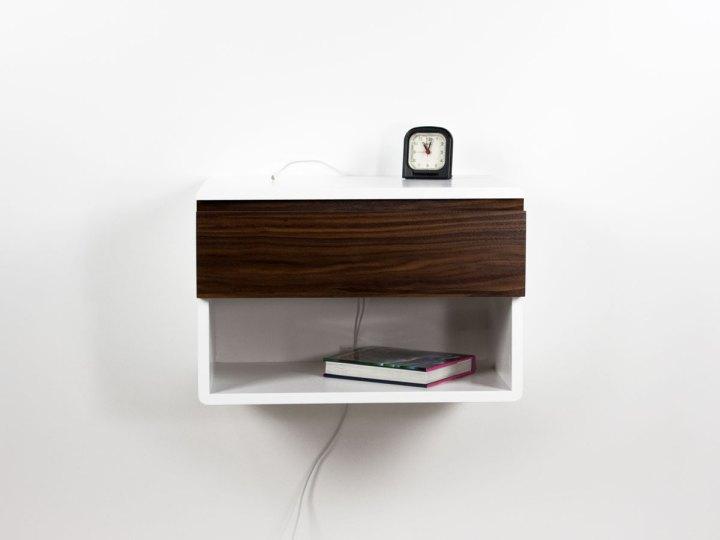 Blanca Walnut Floating Nightstand Shelf – One Drawer One Open Shelf