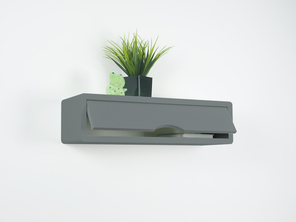 Slate gray shelf open