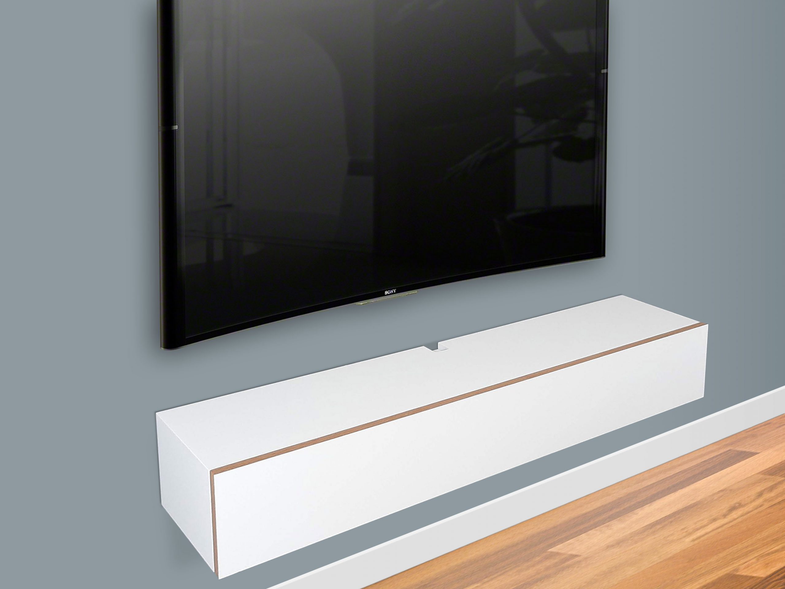 White Floating Tv Stand Wall Mount Media Console Spark Shell Craft