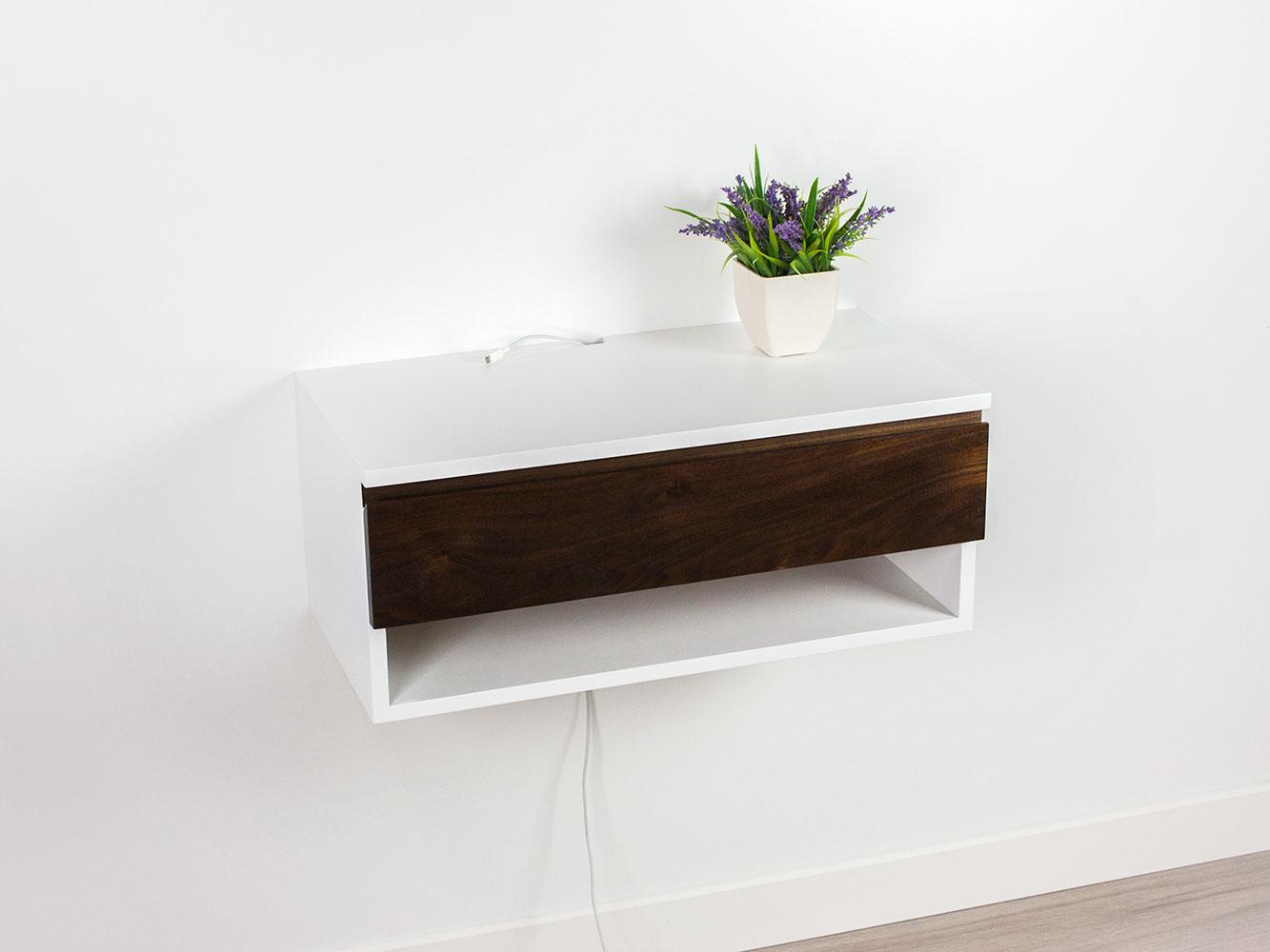 Walnut Floating Nightstand Desk