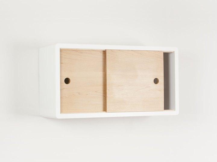 Minimalist Floating Shelf with Sliding Door, Modern Wall Cabinet, Floating Storage
