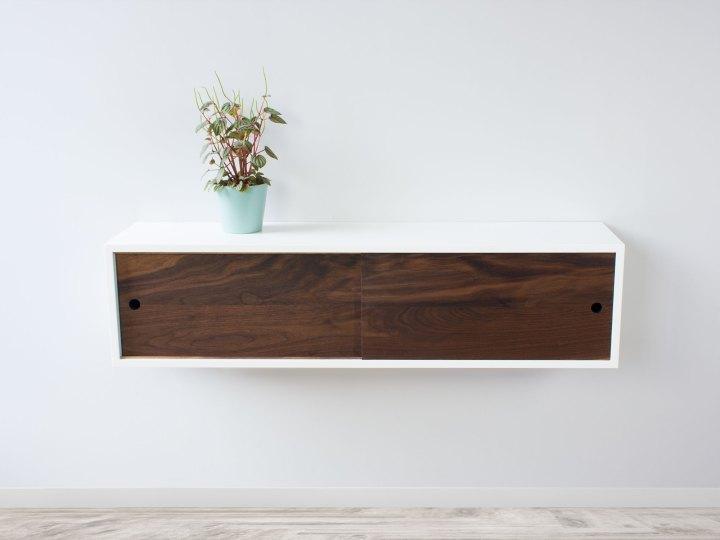Modern Floating Sliding Door Shelf, Floating Credenza, Wall Storage Cabinet