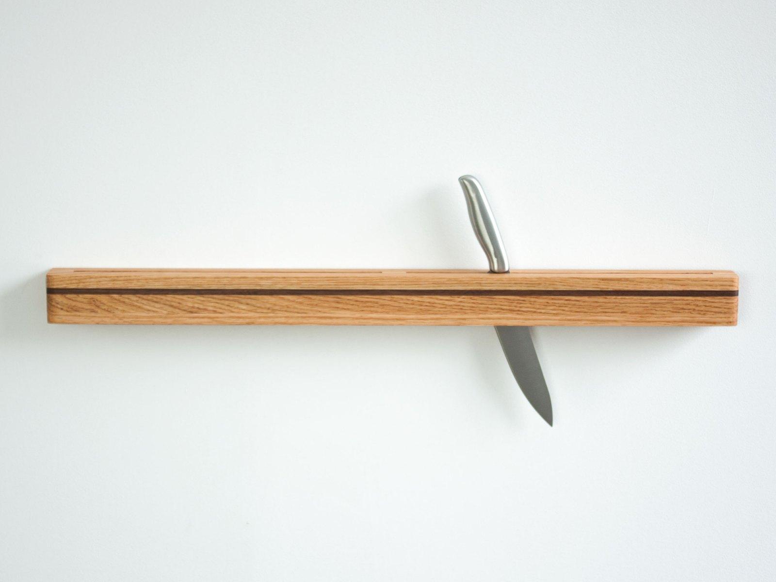 wall mount knife block red oak
