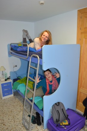 Having fun on the bunkbeds!