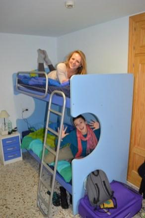 Having fun on the bunkbeds!