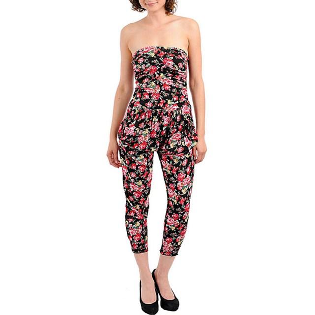 Stanzino-Womens-Black-Strapless-Floral-Romper-L14211671