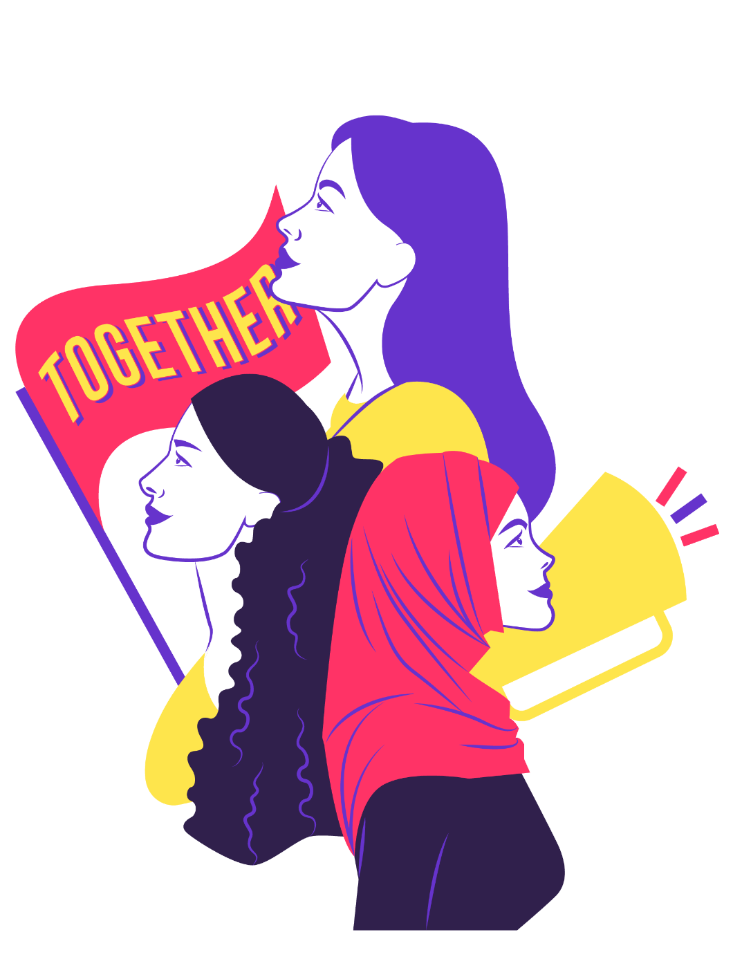Illustration of women activists