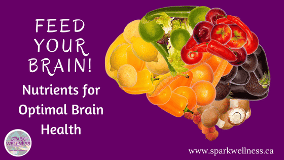 Title: Feed your brain blog: nutrients for optimal brain health with picture of a brain made from fruits and vegetables