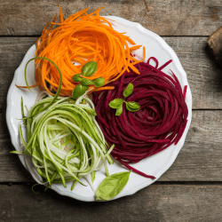 Spiralized zucchini, carrots and beets