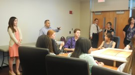 Andy Ramirez and Erisa Nakano from ABC15 talking to SJI students. Photo credit to Andrea Charcas.