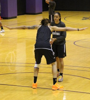 Griner playfully guards teammate Candice Dupree during a shootaround on Wednesday, June 12th. (Shot by Bobby Mento)