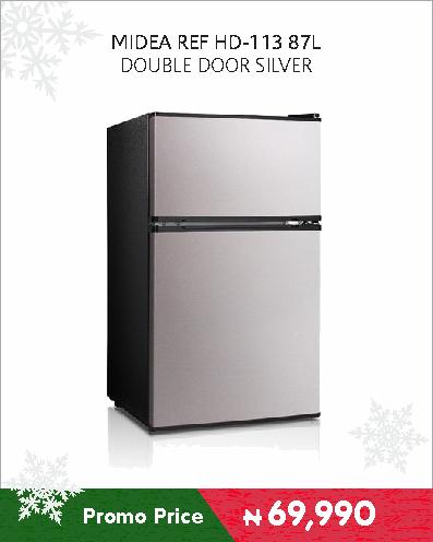 MIDEA REF HD-113 87L DOUBLE DOOR SILVER
