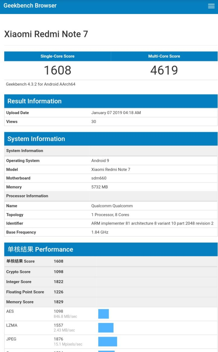 Redmi Note 7 geekbench score