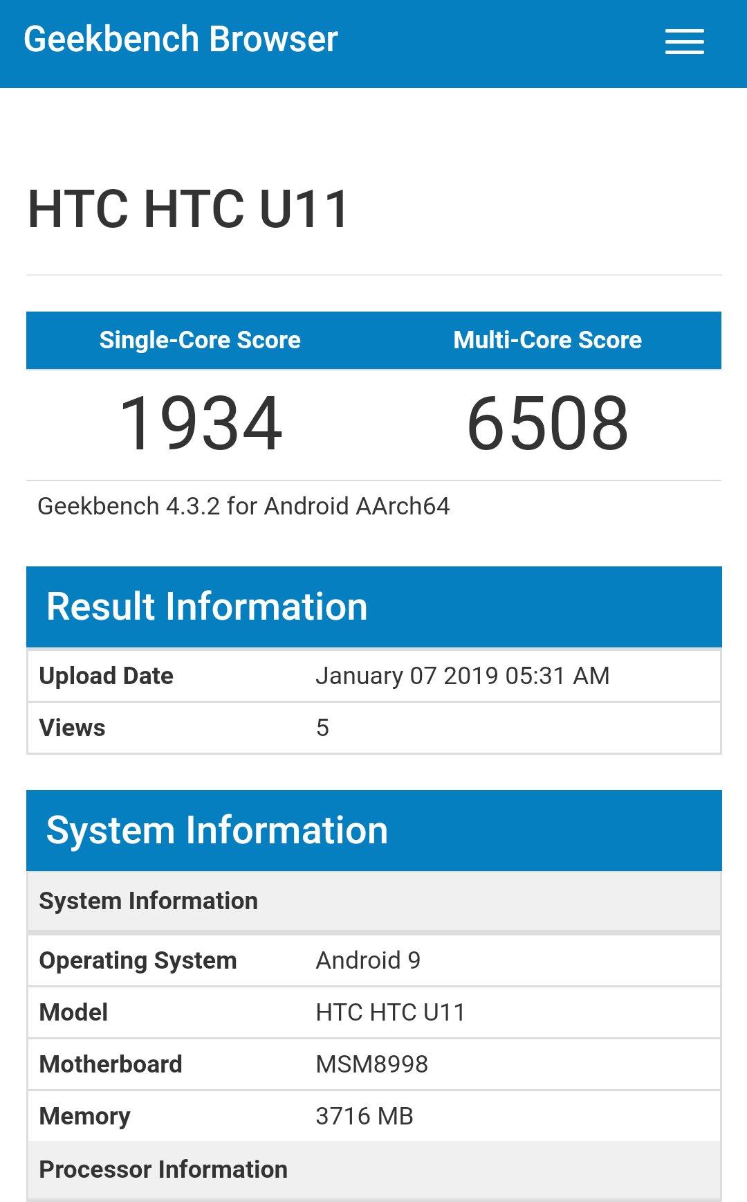 HTC U11 running android pie on Geekbench