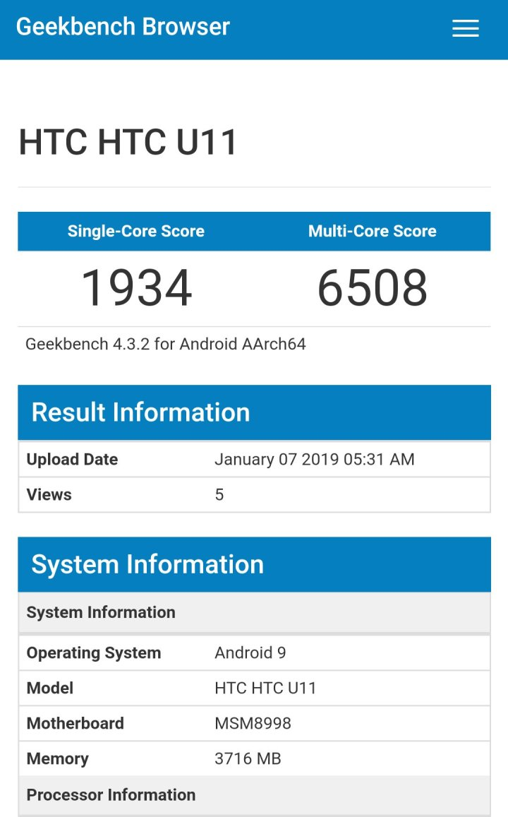 HTC U11 running android pie on Geekbench