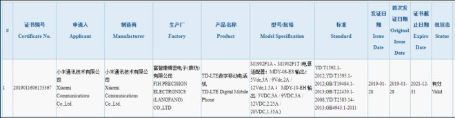 Mysterious Xiaomi device Certified on 3C with 27w fast charger, suspected Xiaomi 9 1
