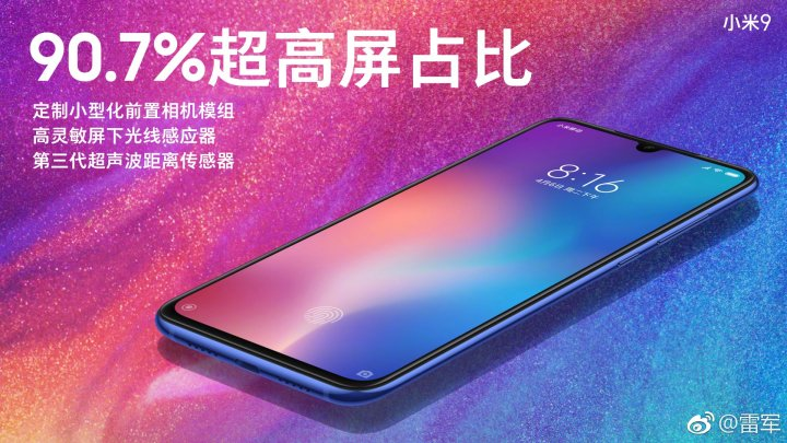 Xiaomi Mi 9 Screen to body Ratio
