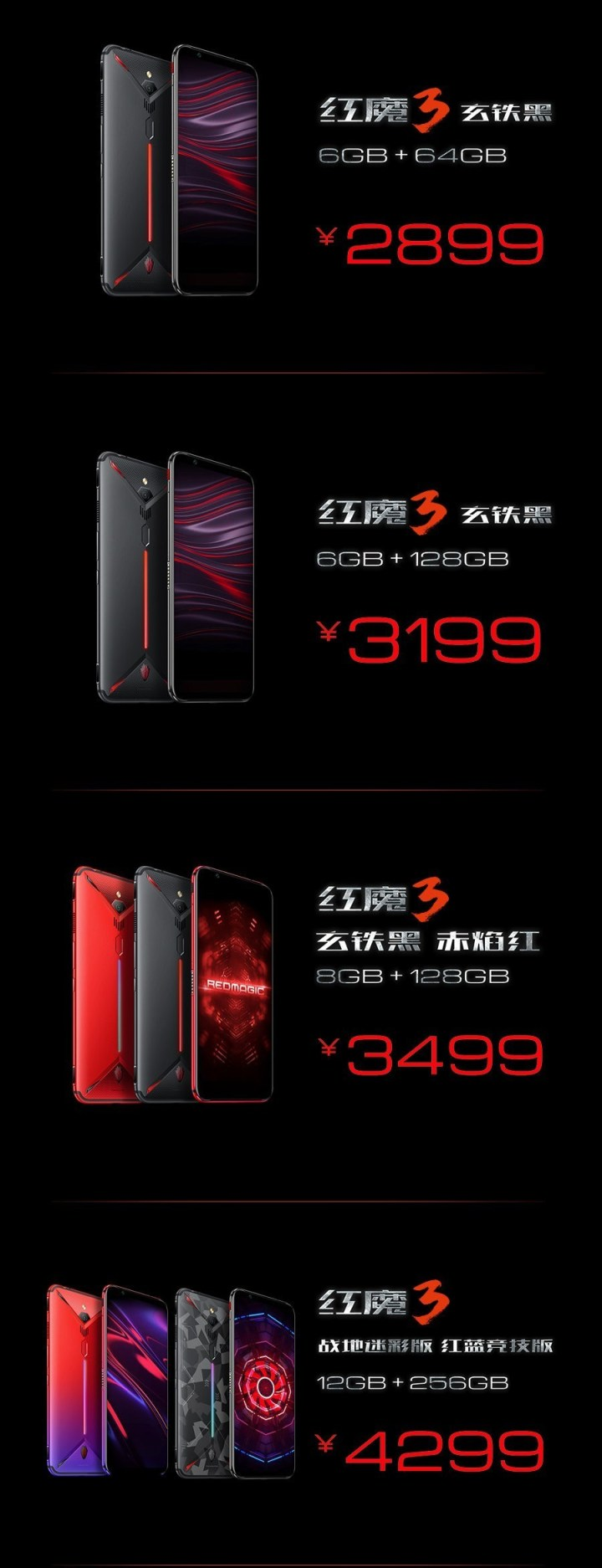Nubia Red Magic 3 Price and Versions
