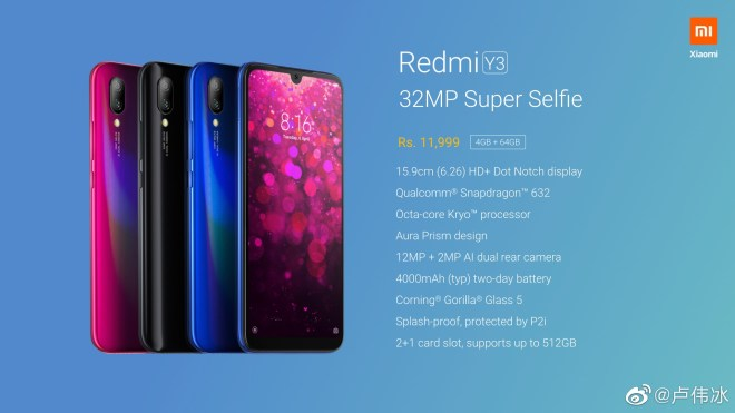 Redmi Y3 Full Phone Specifications