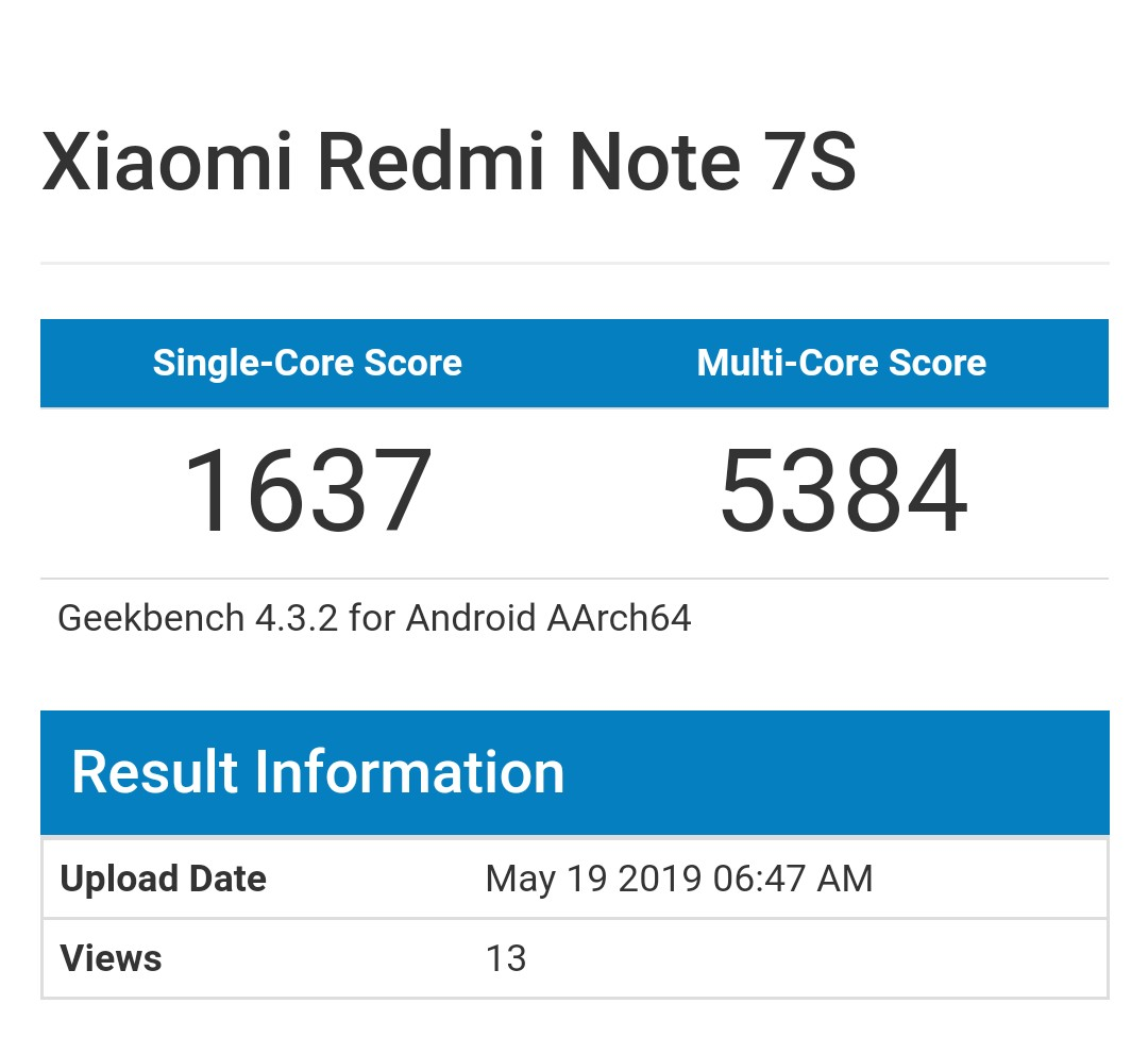Redmi Note 7s Geekbench
