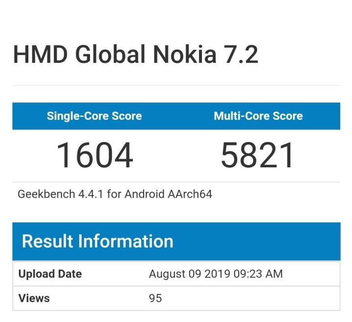 Nokia 7.2 Geekbench Running Score