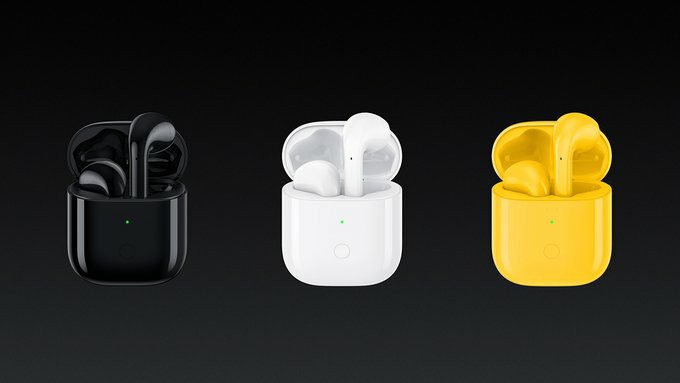 Realme Buds Air Color Options - black, white and yellow