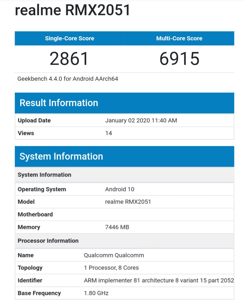 Realme X50 5G Geekbench