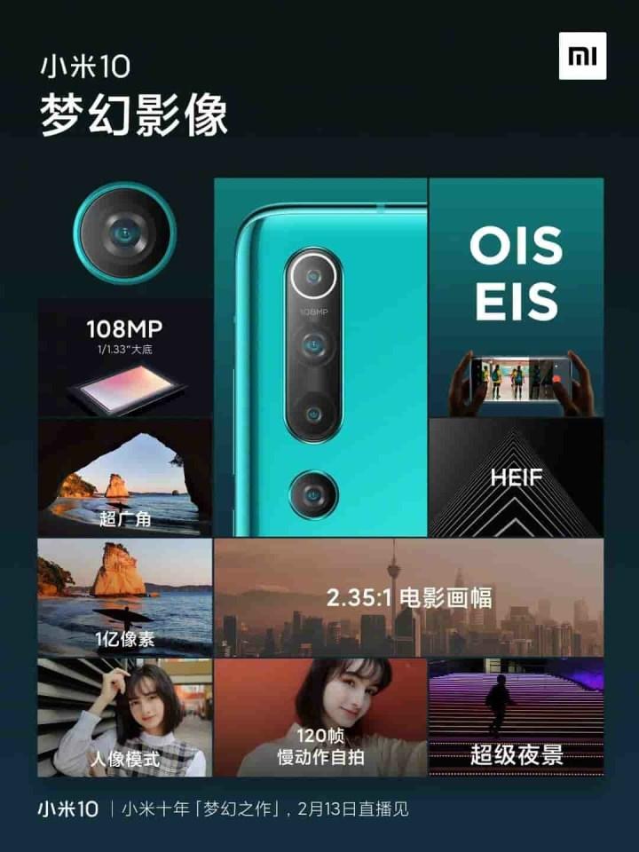 Xiaomi Mi 10 Camera Set-up