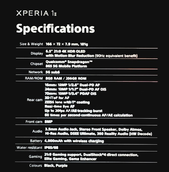Sony Xperia 1 Ⅱ Specifications