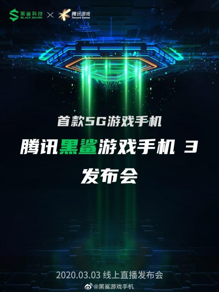 Xiaomi Black Shark 3 release date is 3 march 2020