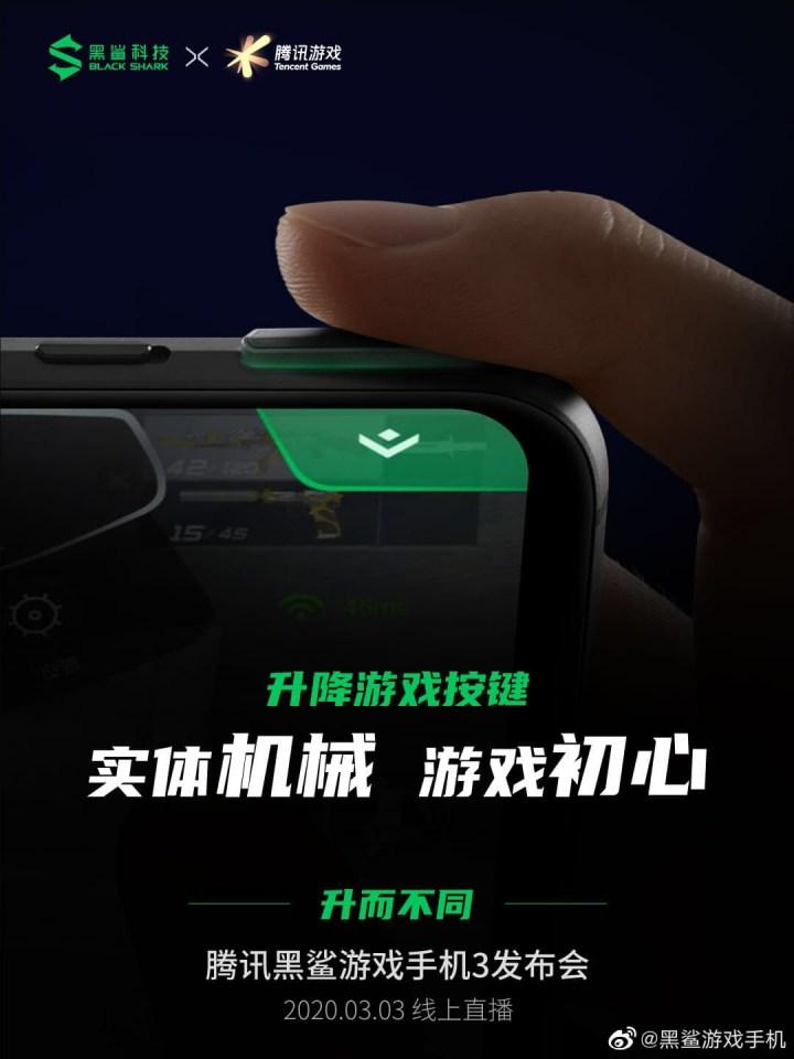Black Shark 3 Pro lifting Gaming Mechanical Buttons