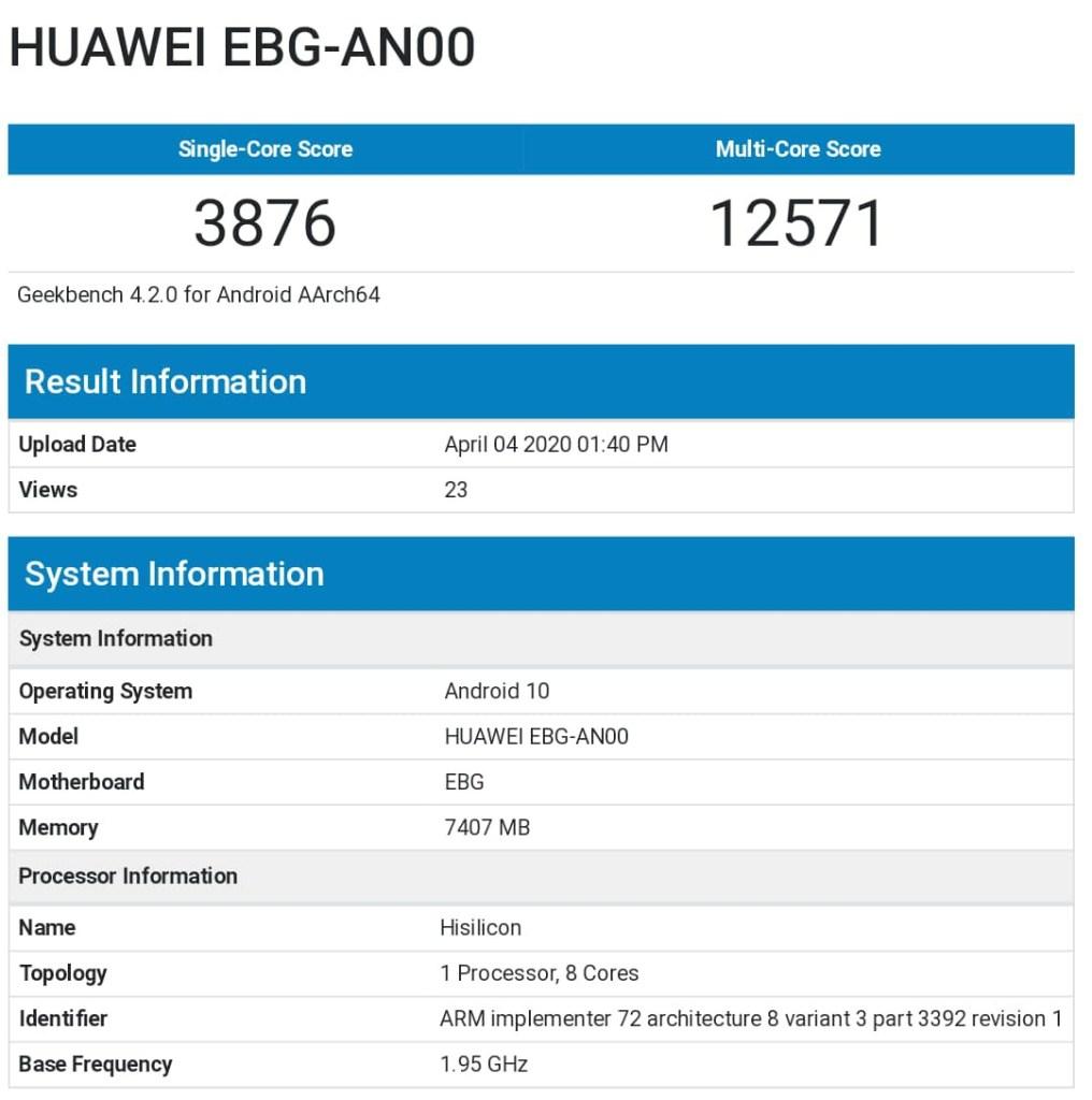 Honor 30 Pro Geekbench Performance Score, honor Huawei EBG-AN00