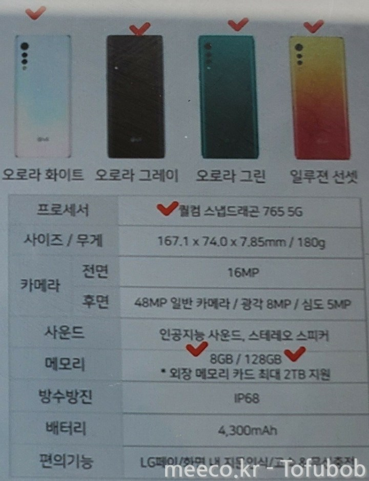LG Velvet Specifications