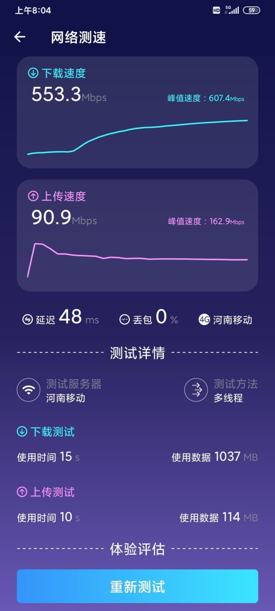 Redmi 10X Pro 5G network speed test