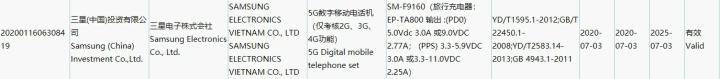 Samsung Galaxy Fold 2 Certification