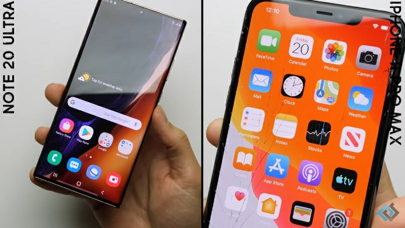 Samsung Galaxy Note 20 Ultra Drop Test vs iPhone 11 Pro Max