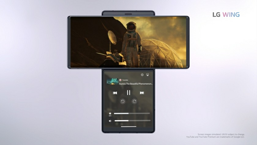 LG Wing Phone dual Screen uses