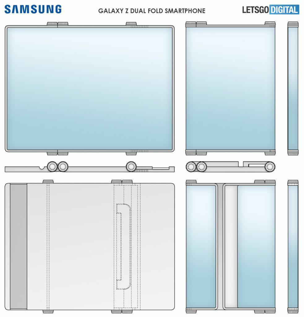 New Samsung Dual-folding Phone Galaxy Z Dual Fold Patent Exposure
