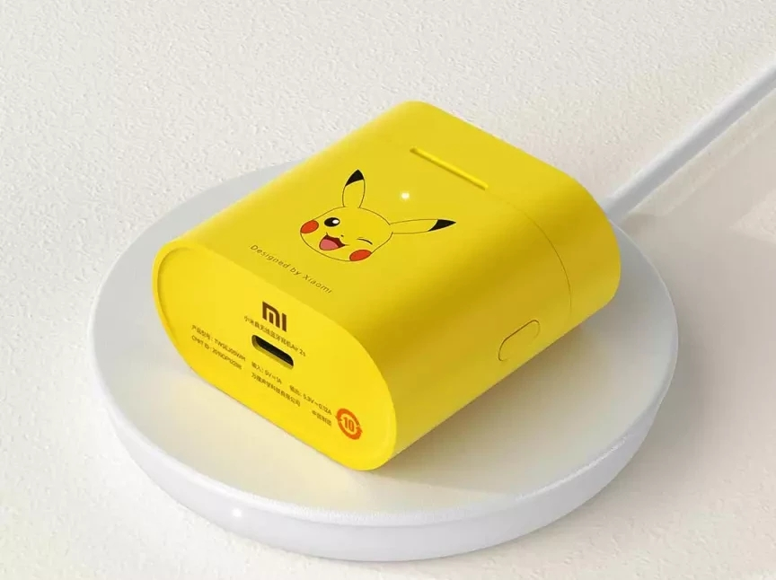 Picture showing Xiaomi Mi Air 2s Pikachu Edition and wireless charging demonstration