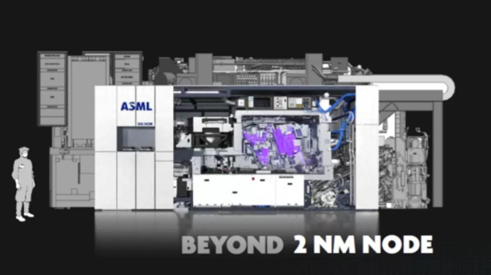 Current EUV lithography system (NA=0.33) (front) compared to the next generation of high NA EUV lithography system (NA=0.55) (back).
