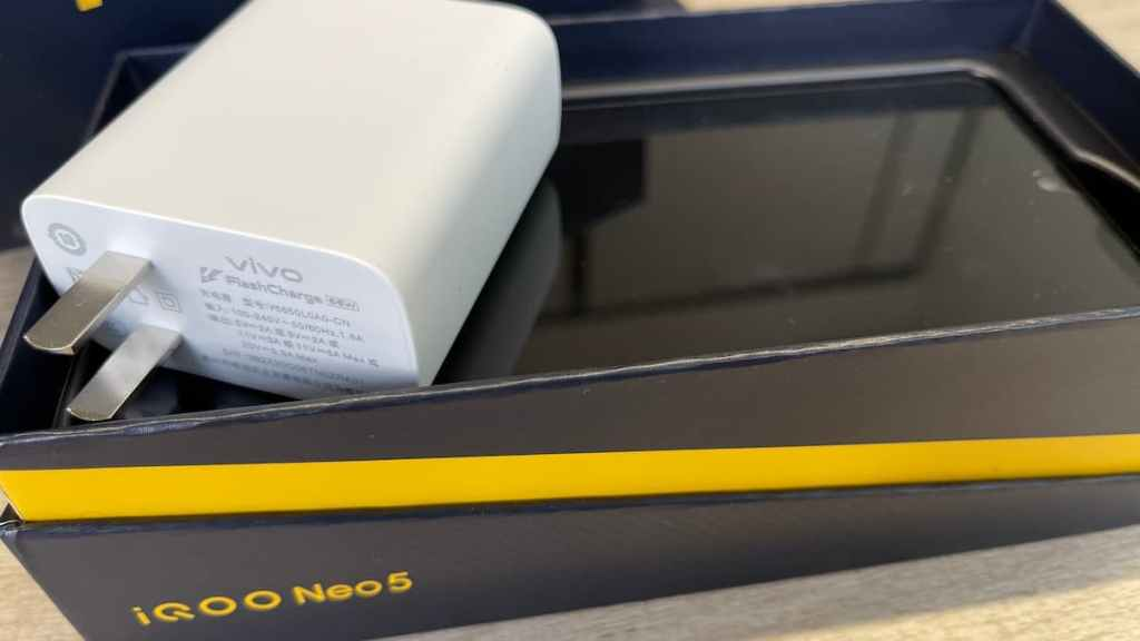 iQOO Neo5 support 66W wired fast charging, spotted in live photo.